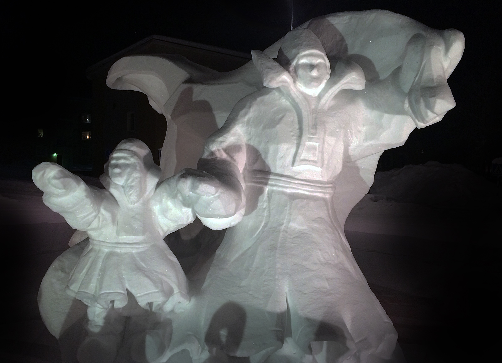 Jokkmokk Winter Market 2016 - The official winter market snow sculpture (at the Storgatan - Klockarvägen roundabout)